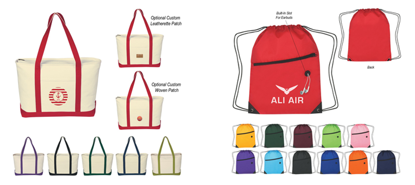 Tote bags and backpacks
